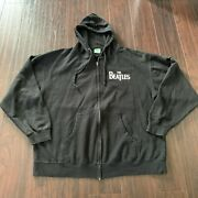 The Beatles Full Zip Hoodie Mens Size Xl Green Apple Tag Front And Back Graphic