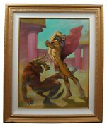 Paul Cooreman Theseus Slaying Minotaur Signed Oil Painting On Canvas Nude 46
