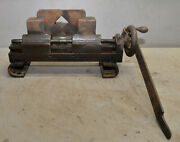 Machinist Double Lock Stock Holding Vise Collectible Blacksmith Tool Hand Wheel