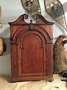 English Oak Hanging Corner Cupboard 1700and039s Primitive Painted Innterior