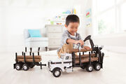 Big Farm Peterbilt Model 367 Logging Truck Toy With Pup Trailer And 10 Logs, 3+