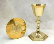 + Nice Older All Sterling Silver Chalice With Disk Paten Set 8 7/8 Ht. Cu524