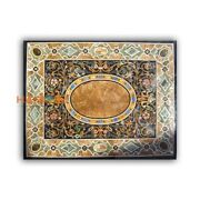 4and039x3and039 Black Marble Dining Table Scagliola Mosaic Top Inlaid Coridoor Decor B433