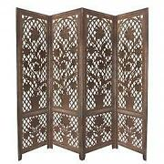 4 Panel Wooden Screen With Cutout Trellis Pattern And Flower Pot Carvings Brown