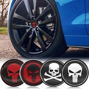 4pcs 60mm Punisher Skull Logo Car Wheel Center Hub Caps Badge Emblem Stickers