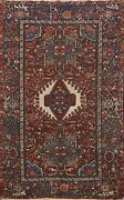 Antique Geometric Gharajeh Area Rug Tribal Traditional Hand-knotted Wool 5x6 Ft