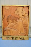 + Stations Of The Cross + Station 3, Hand Carved In Wood, 30 1/2 Ht. Cu563