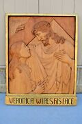 + Stations Of The Cross + Station 6, Hand Carved In Wood, 30 1/2 Ht. Cu565