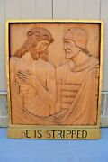 + Stations Of The Cross + Station 10, Hand Carved In Wood, 30 1/2 Ht. Cu567