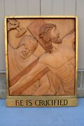 + Stations Of The Cross + Station 11, Hand Carved In Wood, 30 1/2 Ht. Cu568