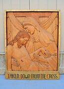 + Stations Of The Cross + Station 13, Hand Carved In Wood, 30 1/2 Ht. Cu569