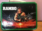 Vintage 1985 Rambo Metal Lunch Box With Thermos