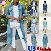 Us Women Ripped Denim Long Jacket Coat Ladies Casual Button Jeans Trench Outwear