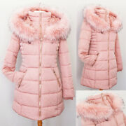 New Blush Pink Faux Fur Lined Hooded Cozy Quilted Slim Long Puffer Coat Jacket