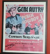 Gene Autry Western Heritage Museum Autographed Rare Poster 4/25 Cowboy Serenade
