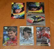 5 Rare Ooak Hand Signed Autographed Action Packed Jeff Gordon Cards + 1 Free