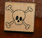 Wooden Rubber Stamp 1 3/4 X 1 3/4 Skull And Crossbones