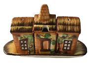 Occupied Japan Maruto Mu Cottage Salt Pepper Shakers And Mustard On Tray 1945-1952