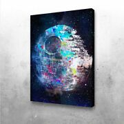 Death Star Movie Retro Wall Art Printed On Wrapped Canvaswooden Frame