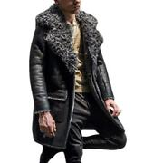 Mens Mid Long 100 Real Sheep Leather Big Fur Collar Coats Outwear Thicken New L