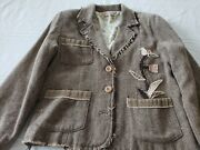 Princy By Jessica Simpson Jacket Brown Floral Applique Long Sleeve Pockets L
