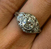 Vintage And Antique Art Deco Engagement Ring 14k White Gold Over 2 Ct Diamond Ring