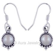 Natural Solid 925 Sterling Silver Pearl Dangle Earrings Fine Jewelry E1737-5