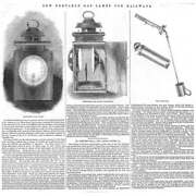 New Portable Gas Lamps For Railways - Antique Print 1845