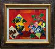 Bright And Colorful French Modernist Signed Oil Oriental Lamp Bowl Of Fruit