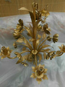 C1950and039s Md Century Modern French Maison Bagues Giltmetal Floral Form Chandelier