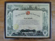 Ultra Rare The Red Indian Old Timers Club Certificate Original