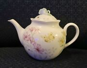 Lenox Butterfly Meadow Limited Edition Pink Teapot Sculpted Flower Topped Lid