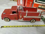 Tonka Toys 1960and039s Ford Cab Tin Metal No. 5 Fire Truck Pumper Ladder Vintage Nice