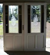 Pair Of Antique French Etched Glass Doors Frosted Stained Glass With Mirrors