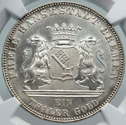 1863 Bremen German Free State 50yrs Liberation Antique Silver Thaler Coin I86963