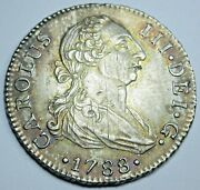 1788 Au-bu Details Spanish Silver 2 Reales Antique Two Bit Colonial Pirate Coin