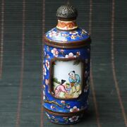 Chinese Exquisite Copper Cloisonne Handmade Draw Figures Snuff Bottles 102408