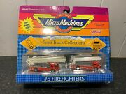 Micro Machines Galoob 5 Fire Truck Vehicle Set Silver Back Sealed Card Rare