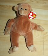 Retired Ty Beanie Baby Bongo The Monkey 1995 W/ Tan Tail Very Good Condition