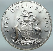 1973 Bahamas Elizabeth Ii Pirate Defeat Motto Proof Silver 5 Coin Ngc I87078