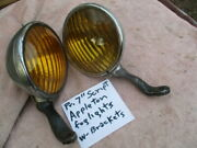 1930and039s Approx. 7 Inch Appleton Script Fog Lights With Brackets