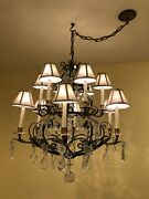 Vintage 12-light Candle Style Traditional Chandelier W/crystal And Gilt Metalandnbsp