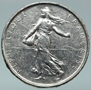 1965 France French Large With La Semeuse Sower Woman Silver 5 Francs Coin I87094