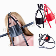 New Body Head Harness Mouth Open Leder Strapon Hood 42mm Gag Locked Device