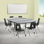 Mobile 86 Oval Wave Activity Table Set-16 Student Stack Chairs Oak/black