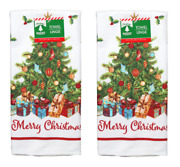 Set Of 2 Festive Christmas Tree Presents Kitchen Dish Hand Towels Free Shipping