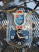 Vintage Old Style Beer Lighted Wall Mount Clock Embosograph Display Co....