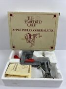 The Pampered Chef Apple Potato Peeler Corer Slicer Red Handle Box Manuel