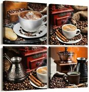 Coffee Bean Coffee Cup Canvas Wall Art Prints Living Room Decor Framed Vintage