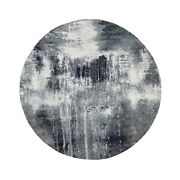 8and039x8and039 Charcoal Black Abstract Design Wool And Silk Hand Knotted Round Rug R58573